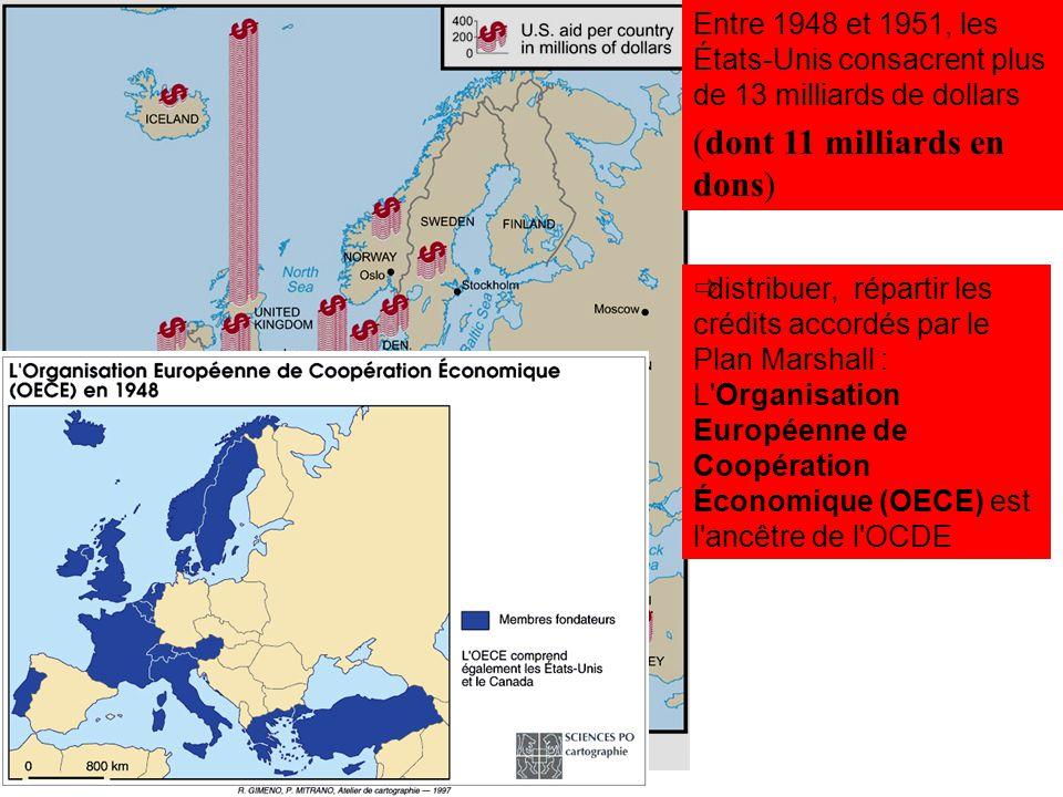distribuer, répartir les crédits accordés par le Plan Marshall : L'Organisation Européenne de Coopération Économique (OECE) est l'ancêtre de l'OCDE En