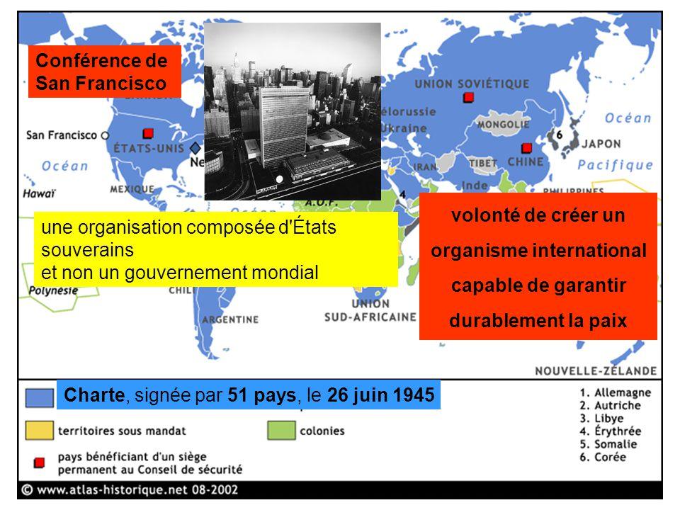 Conférence de San Francisco une organisation composée d'États souverains et non un gouvernement mondial Charte, signée par 51 pays, le 26 juin 1945 vo