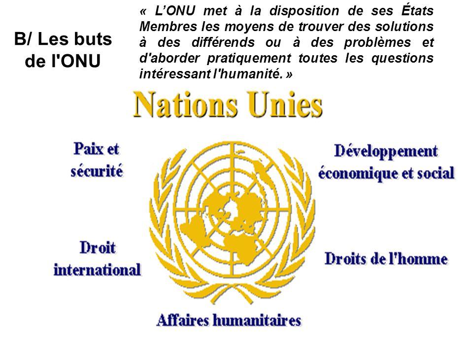 « LONU met à la disposition de ses États Membres les moyens de trouver des solutions à des différends ou à des problèmes et d'aborder pratiquement tou