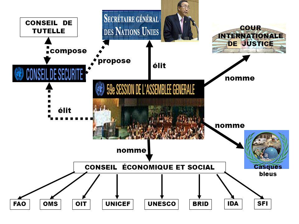 CONSEIL DE TUTELLE compose élit nomme CONSEIL ÉCONOMIQUE ET SOCIAL FAOOMSOITUNICEFUNESCOBRID IDASFI Casques bleus nomme COUR INTERNATIONALE DE JUSTICE