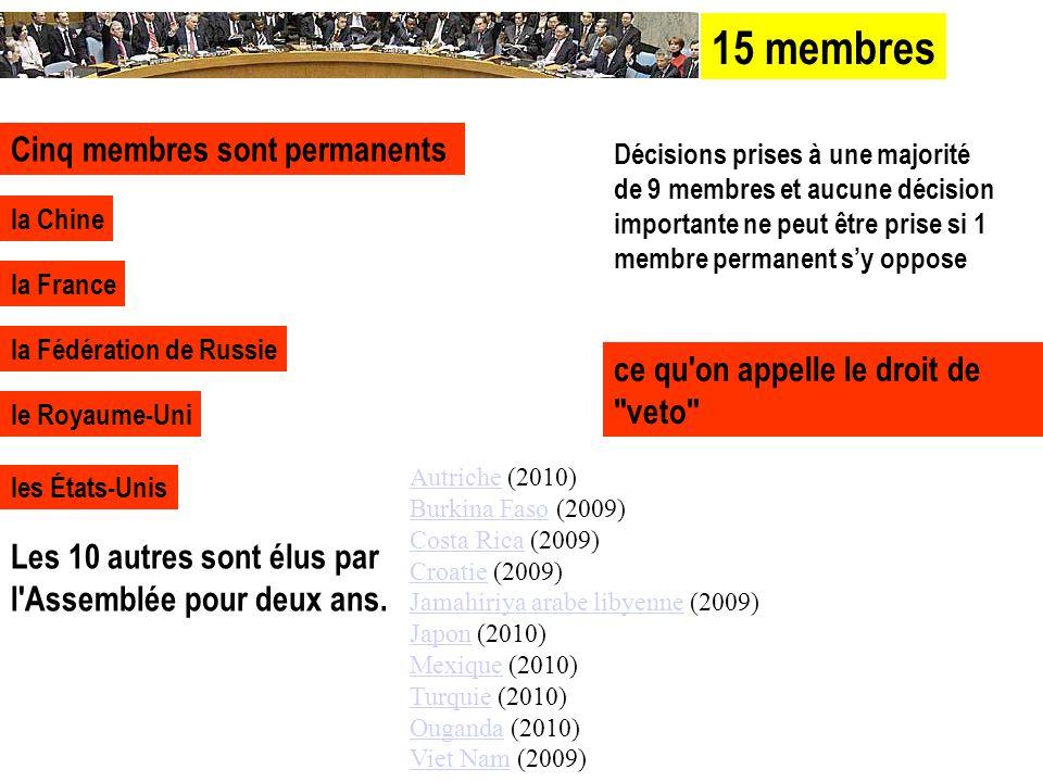 la Chine la France la Fédération de Russie le Royaume-Uni les États-Unis Décisions prises à une majorité de 9 membres et aucune décision importante ne