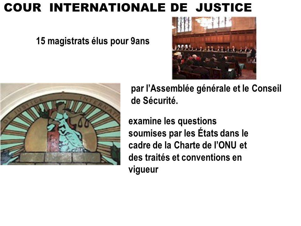 15 magistrats élus pour 9ans par lAssemblée générale et le Conseil de Sécurité. examine les questions soumises par les États dans le cadre de la Chart