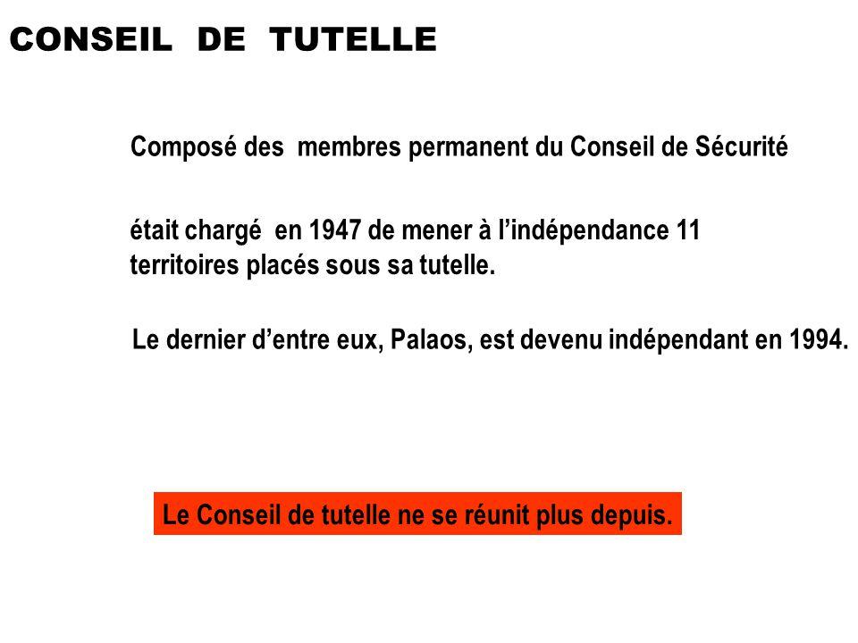 Composé des membres permanent du Conseil de Sécurité était chargé en 1947 de mener à lindépendance 11 territoires placés sous sa tutelle. Le dernier d