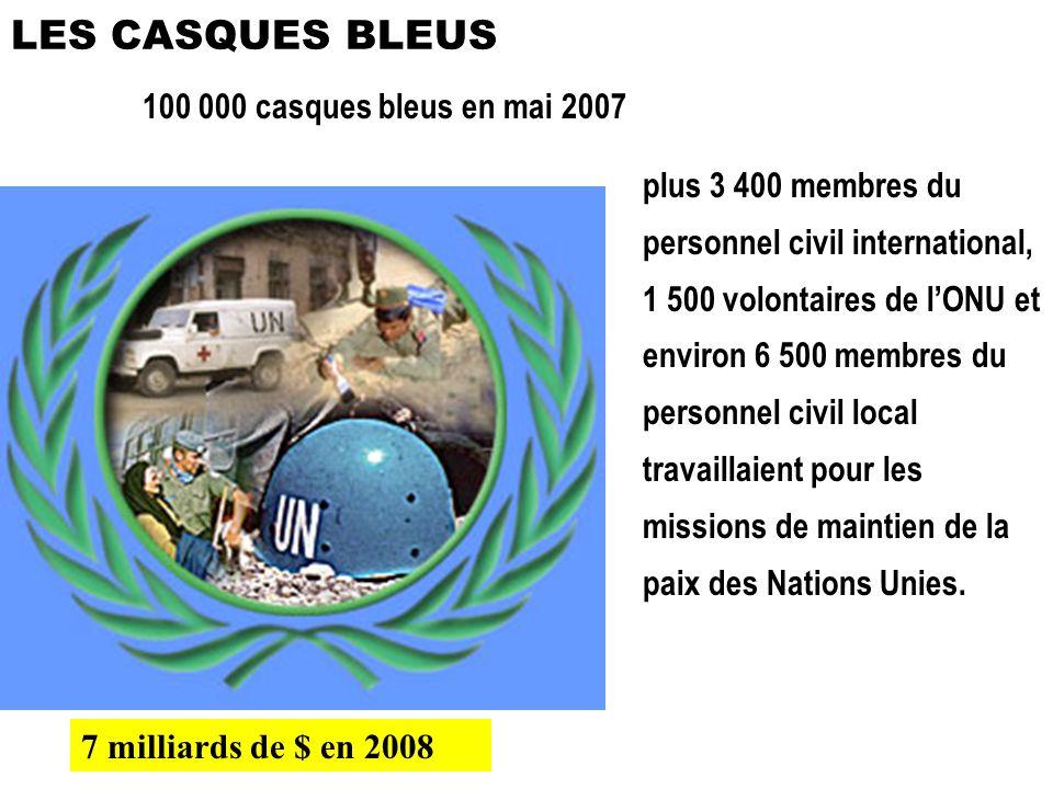 100 000 casques bleus en mai 2007 plus 3 400 membres du personnel civil international, 1 500 volontaires de lONU et environ 6 500 membres du personnel