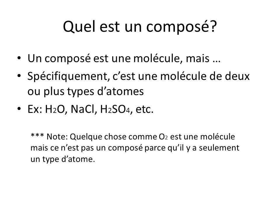 Quel est un composé? Un composé est une molécule, mais … Spécifiquement, cest une molécule de deux ou plus types datomes Ex: H 2 O, NaCl, H 2 SO 4, et