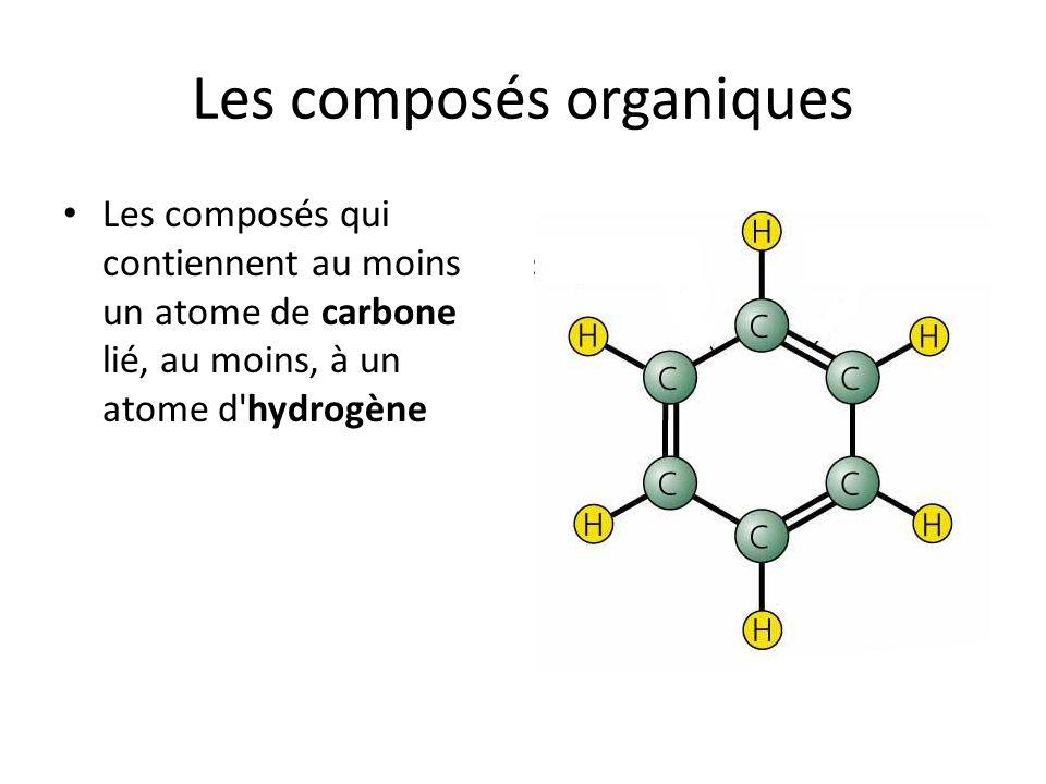 Les composés organiques Les composés qui contiennent au moins un atome de carbone lié, au moins, à un atome d'hydrogène