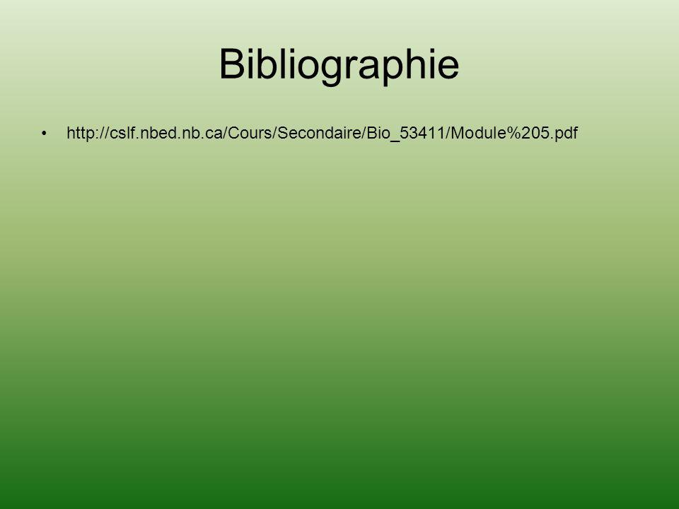 Bibliographie http://cslf.nbed.nb.ca/Cours/Secondaire/Bio_53411/Module%205.pdf