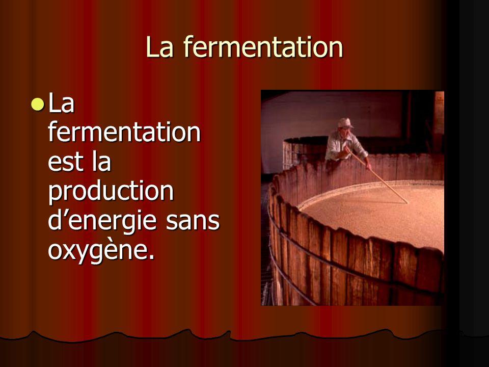 La fermentation La fermentation est la production denergie sans oxygène.