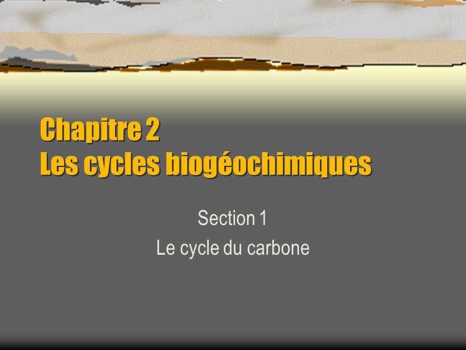 Chapitre 2 Les cycles biogéochimiques Section 1 Le cycle du carbone