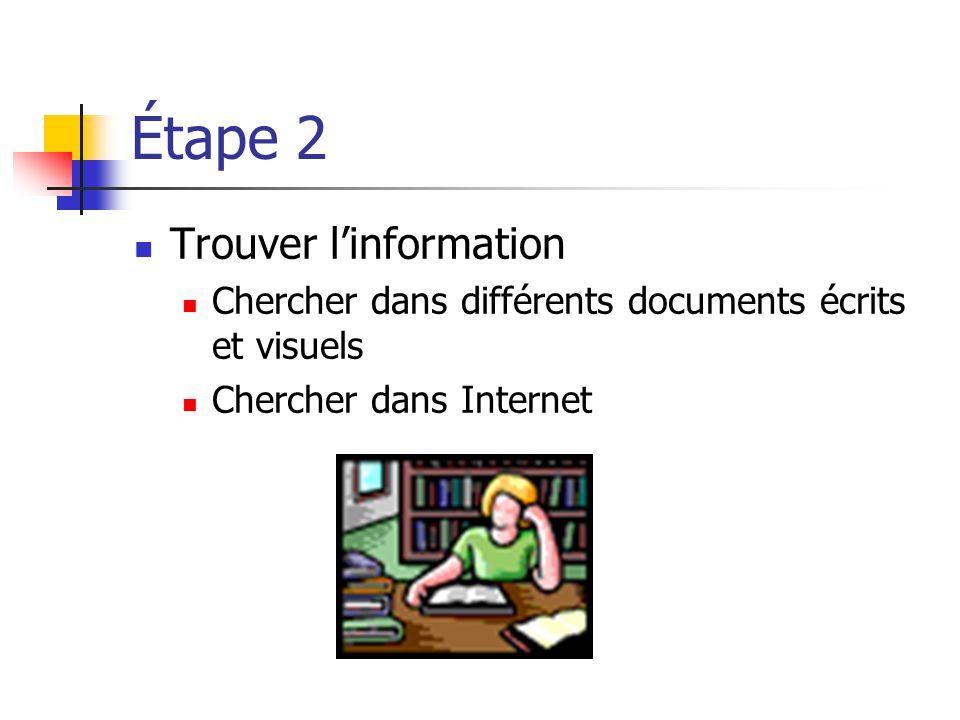 Étape 2 Trouver linformation Chercher dans différents documents écrits et visuels Chercher dans Internet