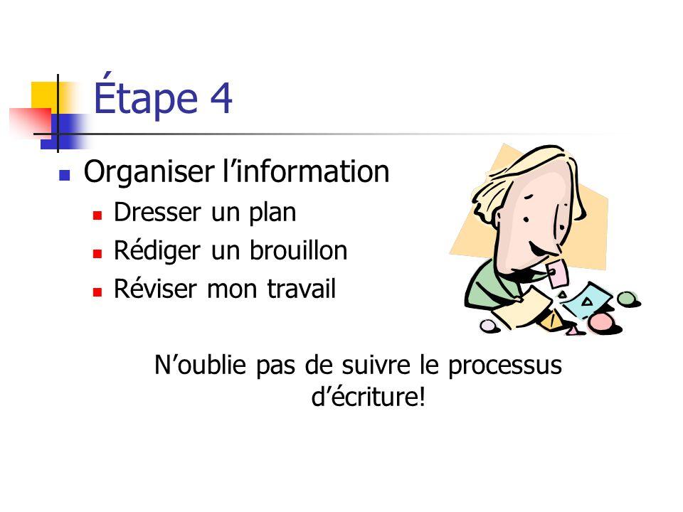 Étape 4 Organiser linformation Dresser un plan Rédiger un brouillon Réviser mon travail Noublie pas de suivre le processus décriture!