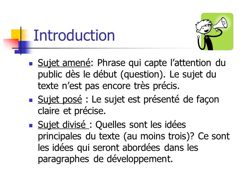 Introduction Sujet amené: Phrase qui capte lattention du public dès le début (question). Le sujet du texte nest pas encore très précis. Sujet posé : L