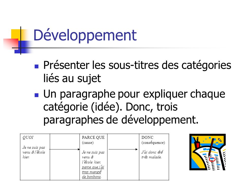 Développement Présenter les sous-titres des catégories liés au sujet Un paragraphe pour expliquer chaque catégorie (idée). Donc, trois paragraphes de