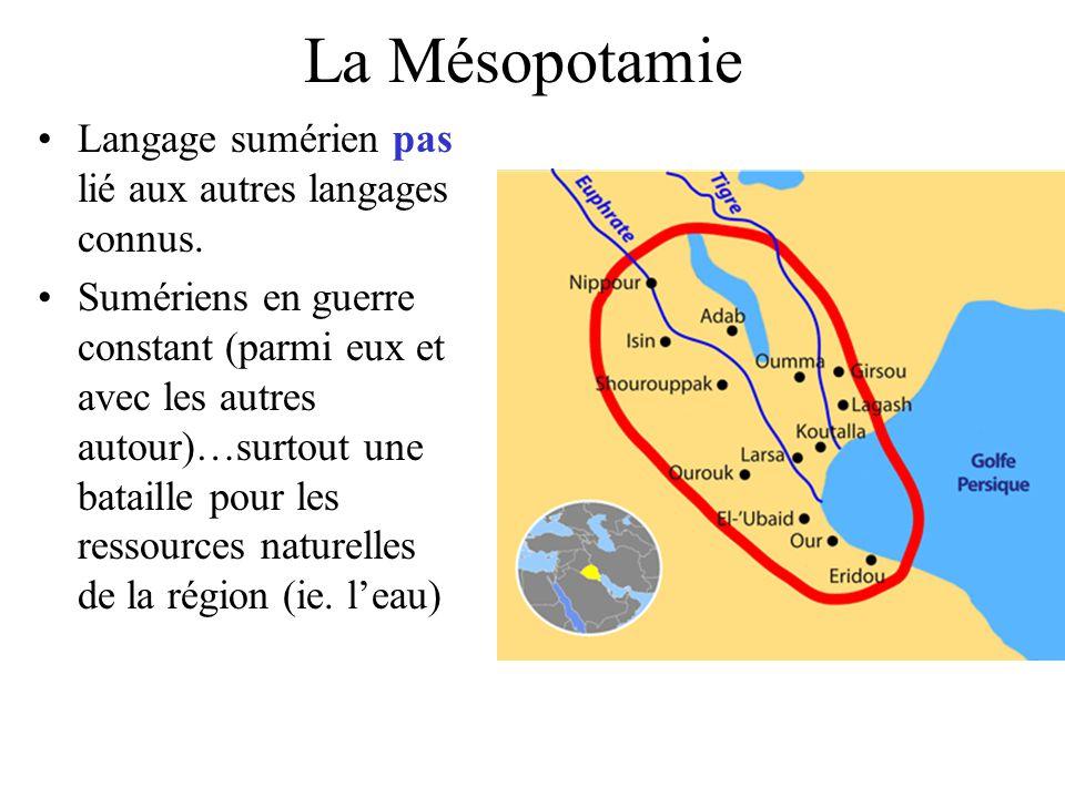 La Mésopotamie Langage sumérien pas lié aux autres langages connus. Sumériens en guerre constant (parmi eux et avec les autres autour)…surtout une bat