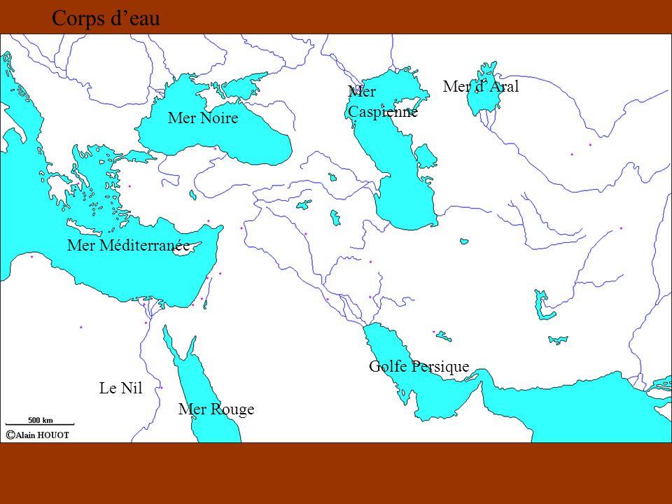 Mer Noire Mer Caspienne Mer dAral Golfe Persique Mer Rouge Mer Méditerranée Le Nil Corps deau