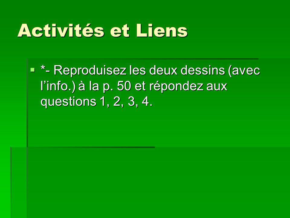 Activités et Liens *- Reproduisez les deux dessins (avec linfo.) à la p. 50 et répondez aux questions 1, 2, 3, 4. *- Reproduisez les deux dessins (ave