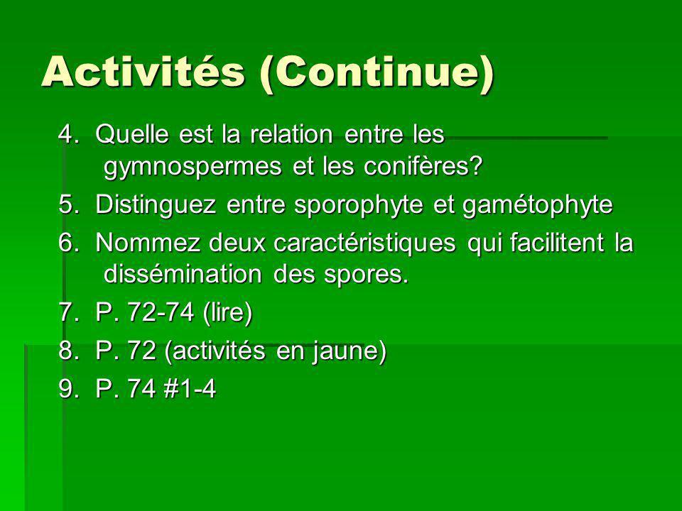 Activités (Continue) 4. Quelle est la relation entre les gymnospermes et les conifères? 5. Distinguez entre sporophyte et gamétophyte 6. Nommez deux c