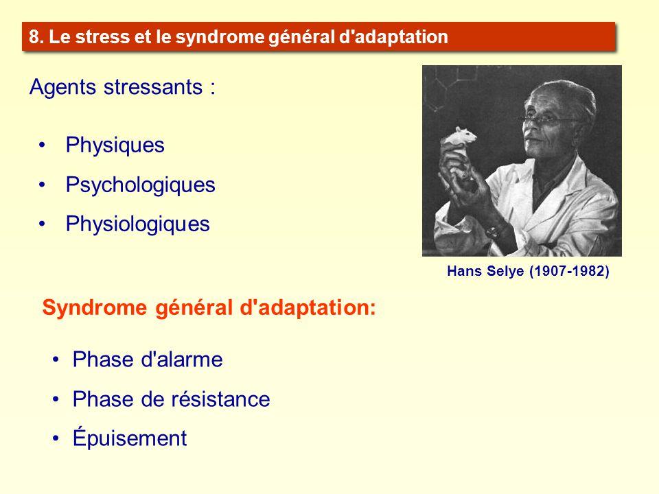 8. Le stress et le syndrome général d'adaptation Hans Selye (1907-1982) Agents stressants : Physiques Psychologiques Physiologiques Syndrome général d