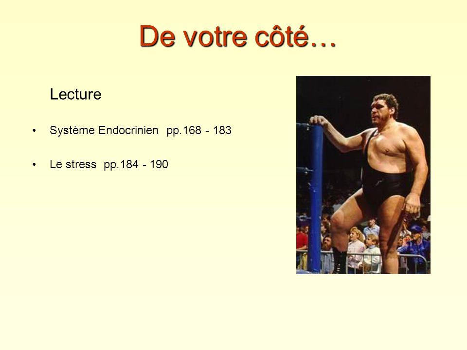 De votre côté… Lecture Système Endocrinien pp.168 - 183 Le stress pp.184 - 190
