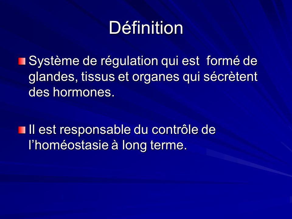 Définition Système de régulation qui est formé de glandes, tissus et organes qui sécrètent des hormones. Il est responsable du contrôle de lhoméostasi