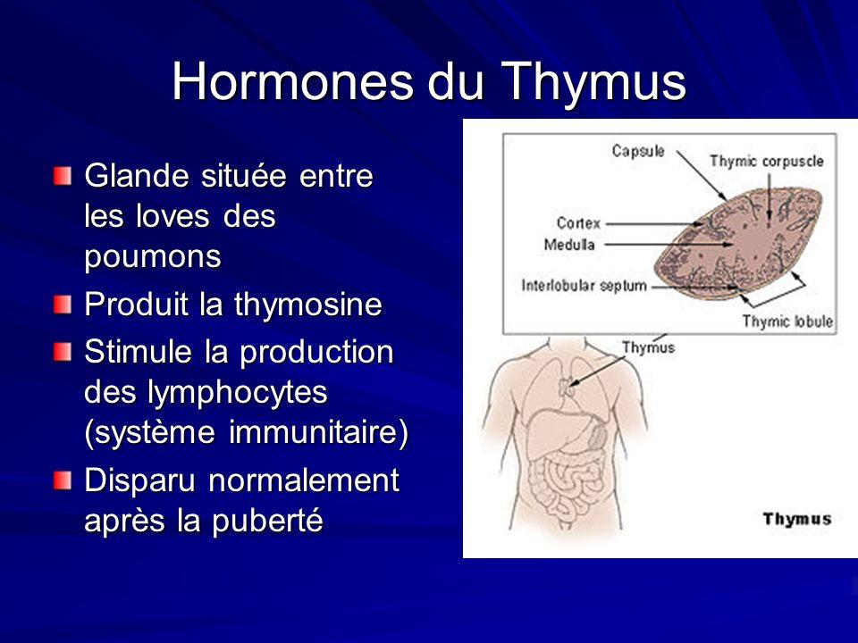Hormones du Thymus Glande située entre les loves des poumons Produit la thymosine Stimule la production des lymphocytes (système immunitaire) Disparu