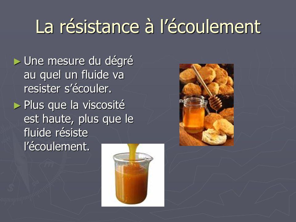 La résistance à lécoulement Une mesure du dégré au quel un fluide va resister sécouler. Une mesure du dégré au quel un fluide va resister sécouler. Pl