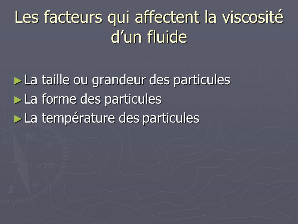Les facteurs qui affectent la viscosité dun fluide La taille ou grandeur des particules La taille ou grandeur des particules La forme des particules L