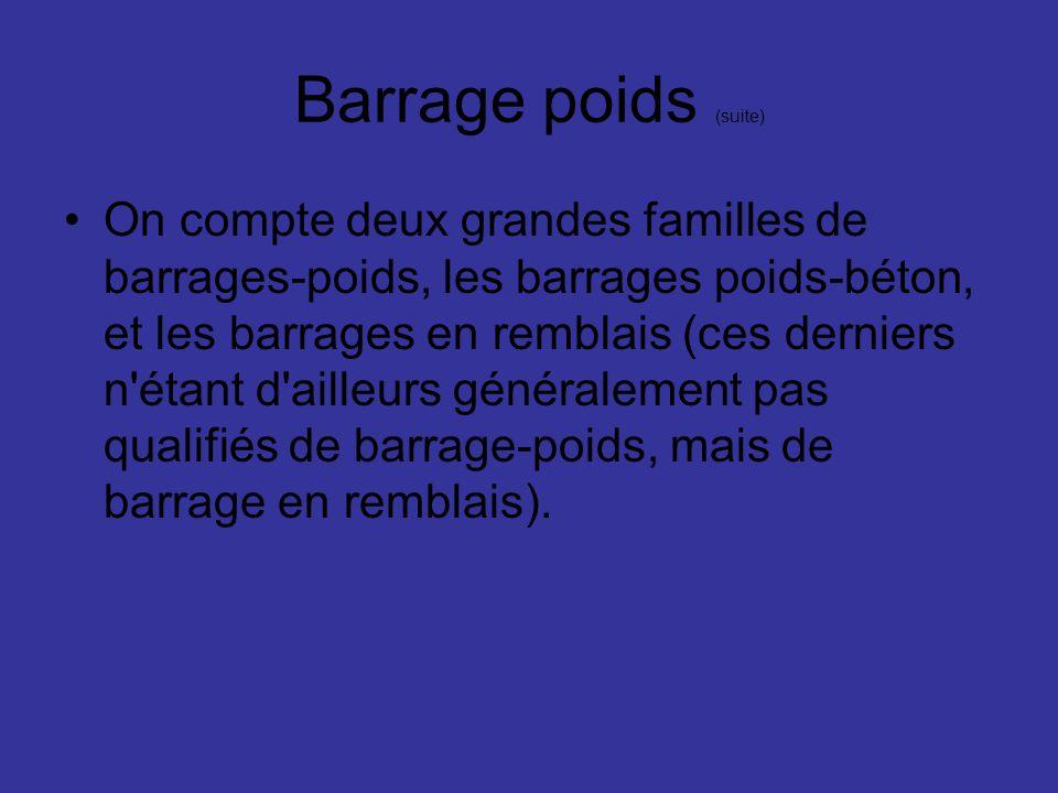 Barrage poids (suite) On compte deux grandes familles de barrages-poids, les barrages poids-béton, et les barrages en remblais (ces derniers n'étant d