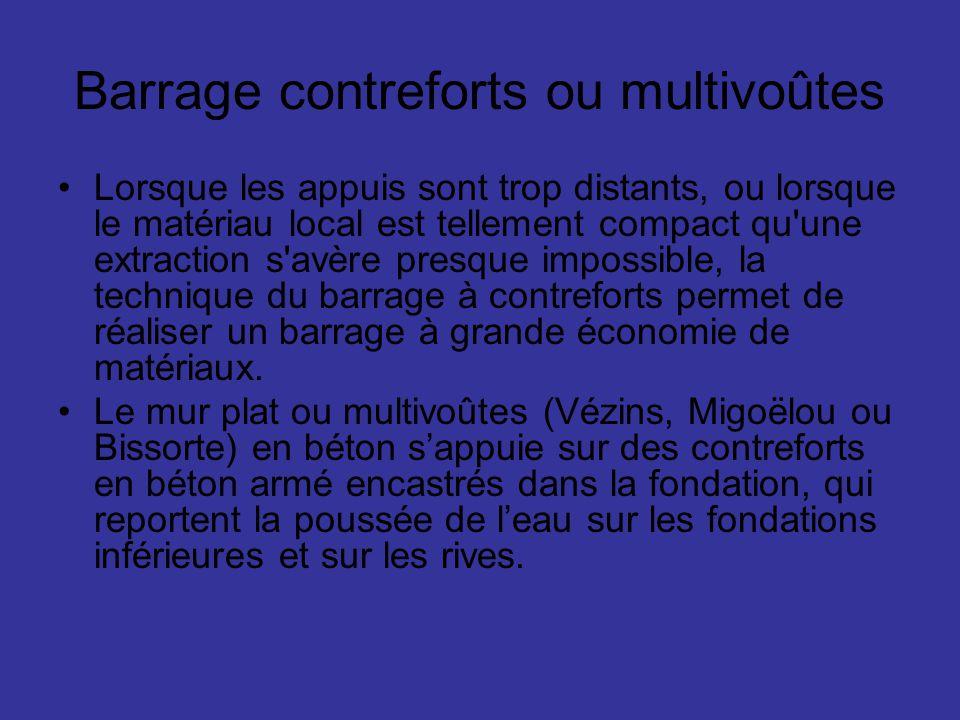Barrage contreforts ou multivoûtes Lorsque les appuis sont trop distants, ou lorsque le matériau local est tellement compact qu'une extraction s'avère