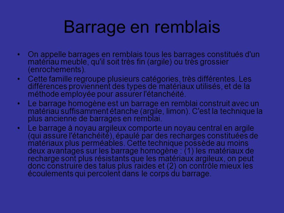 Barrage en remblais On appelle barrages en remblais tous les barrages constitués d'un matériau meuble, qu'il soit très fin (argile) ou très grossier (