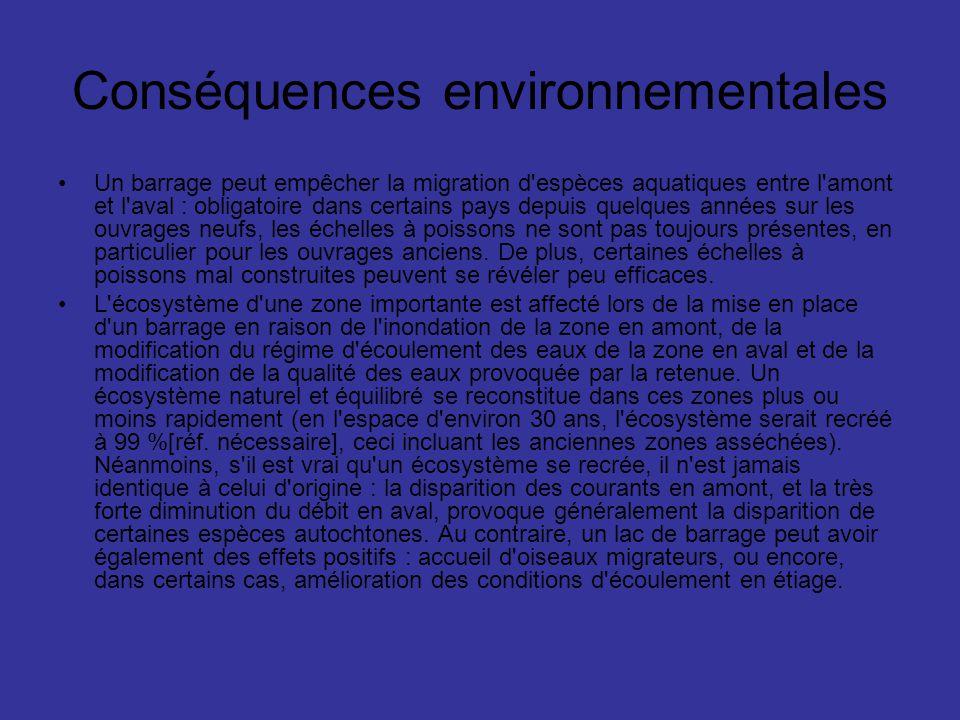 Conséquences environnementales Un barrage peut empêcher la migration d'espèces aquatiques entre l'amont et l'aval : obligatoire dans certains pays dep