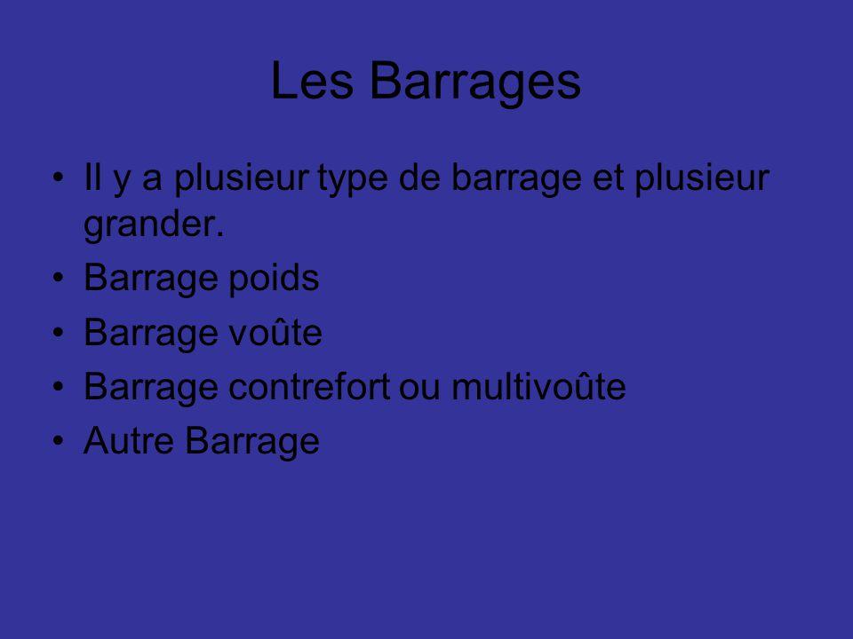 Les Barrages Il y a plusieur type de barrage et plusieur grander. Barrage poids Barrage voûte Barrage contrefort ou multivoûte Autre Barrage