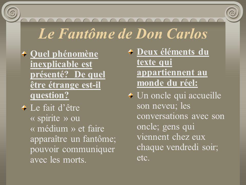 Le Fantôme de Don Carlos Quel phénomène inexplicable est présenté? De quel être étrange est-il question? Le fait dêtre « spirite » ou « médium » et fa