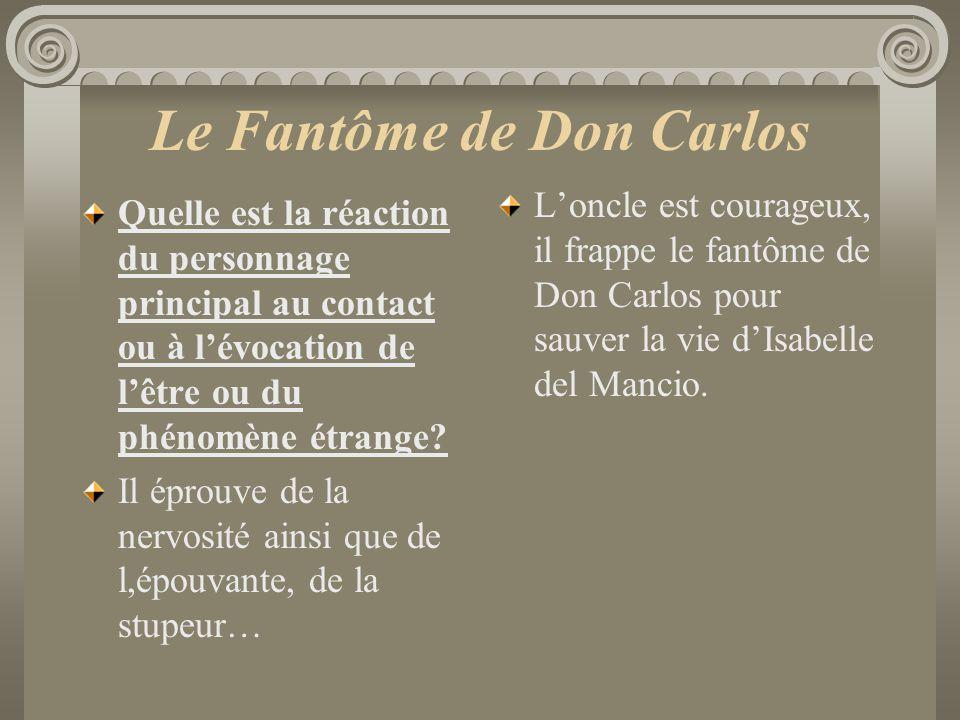 Le Fantôme de Don Carlos Quelle est la réaction du personnage principal au contact ou à lévocation de lêtre ou du phénomène étrange? Il éprouve de la