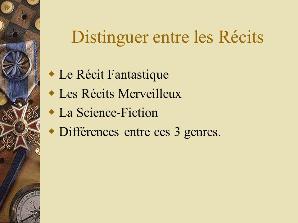 Distinguer entre les Récits Le Récit Fantastique Les Récits Merveilleux La Science-Fiction Différences entre ces 3 genres.