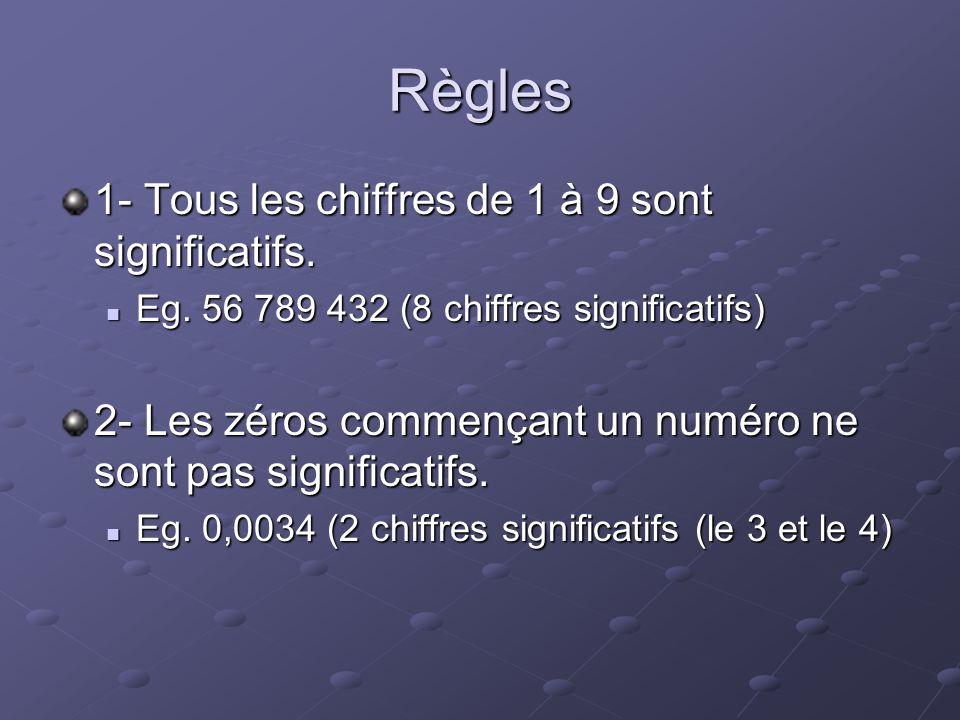 Règles 1- Tous les chiffres de 1 à 9 sont significatifs. Eg. 56 789 432 (8 chiffres significatifs) Eg. 56 789 432 (8 chiffres significatifs) 2- Les zé