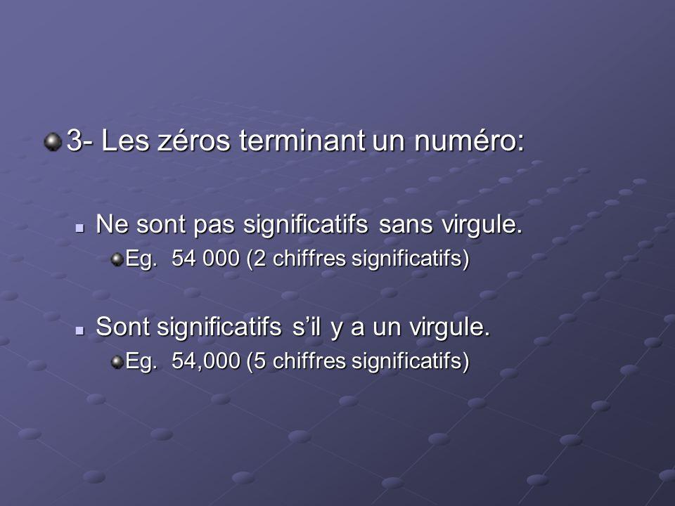 3- Les zéros terminant un numéro: Ne sont pas significatifs sans virgule. Ne sont pas significatifs sans virgule. Eg. 54 000 (2 chiffres significatifs
