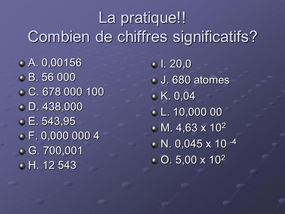 La pratique!! Combien de chiffres significatifs? A. 0,00156 B. 56 000 C. 678 000 100 D. 438,000 E. 543,95 F. 0,000 000 4 G. 700,001 H. 12 543 I. 20,0