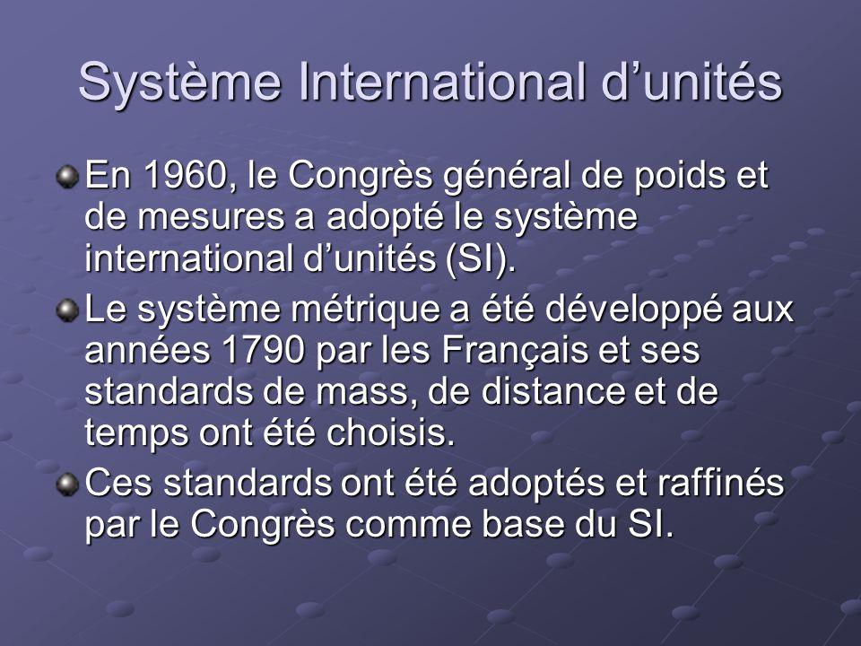 Système International dunités En 1960, le Congrès général de poids et de mesures a adopté le système international dunités (SI). Le système métrique a