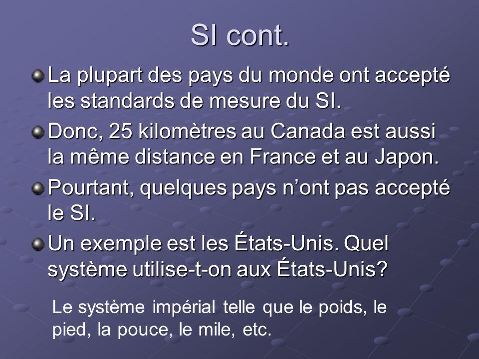 SI cont. La plupart des pays du monde ont accepté les standards de mesure du SI. Donc, 25 kilomètres au Canada est aussi la même distance en France et