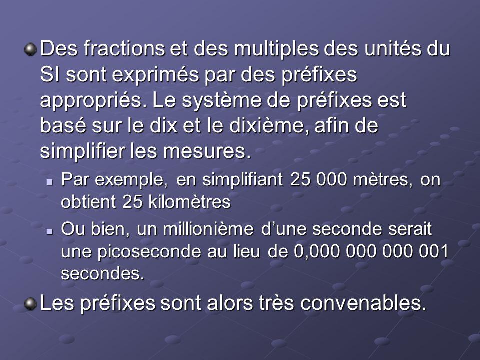 Des fractions et des multiples des unités du SI sont exprimés par des préfixes appropriés. Le système de préfixes est basé sur le dix et le dixième, a