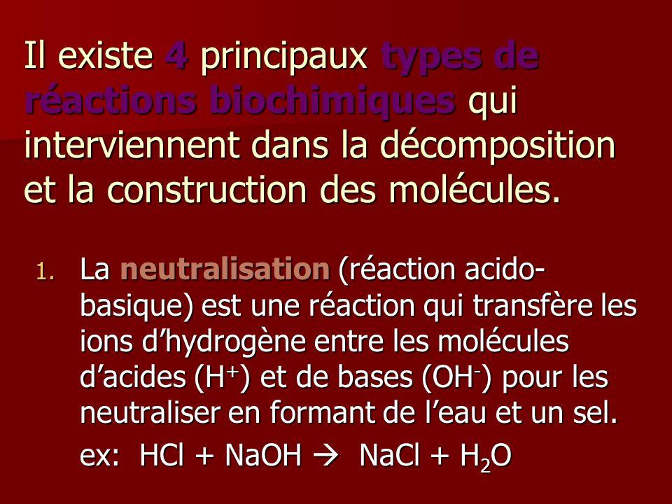 Il existe 4 principaux types de réactions biochimiques qui interviennent dans la décomposition et la construction des molécules. 1. La neutralisation