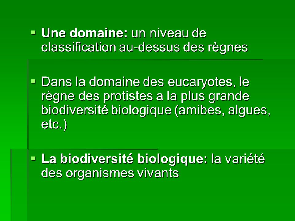 Une domaine: un niveau de classification au-dessus des règnes Une domaine: un niveau de classification au-dessus des règnes Dans la domaine des eucary