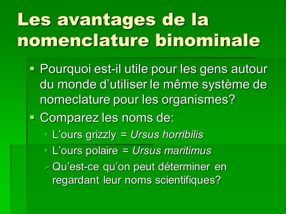 Les avantages de la nomenclature binominale Pourquoi est-il utile pour les gens autour du monde dutiliser le même système de nomeclature pour les orga