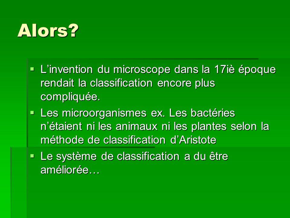 Alors? Linvention du microscope dans la 17iè époque rendait la classification encore plus compliquée. Linvention du microscope dans la 17iè époque ren