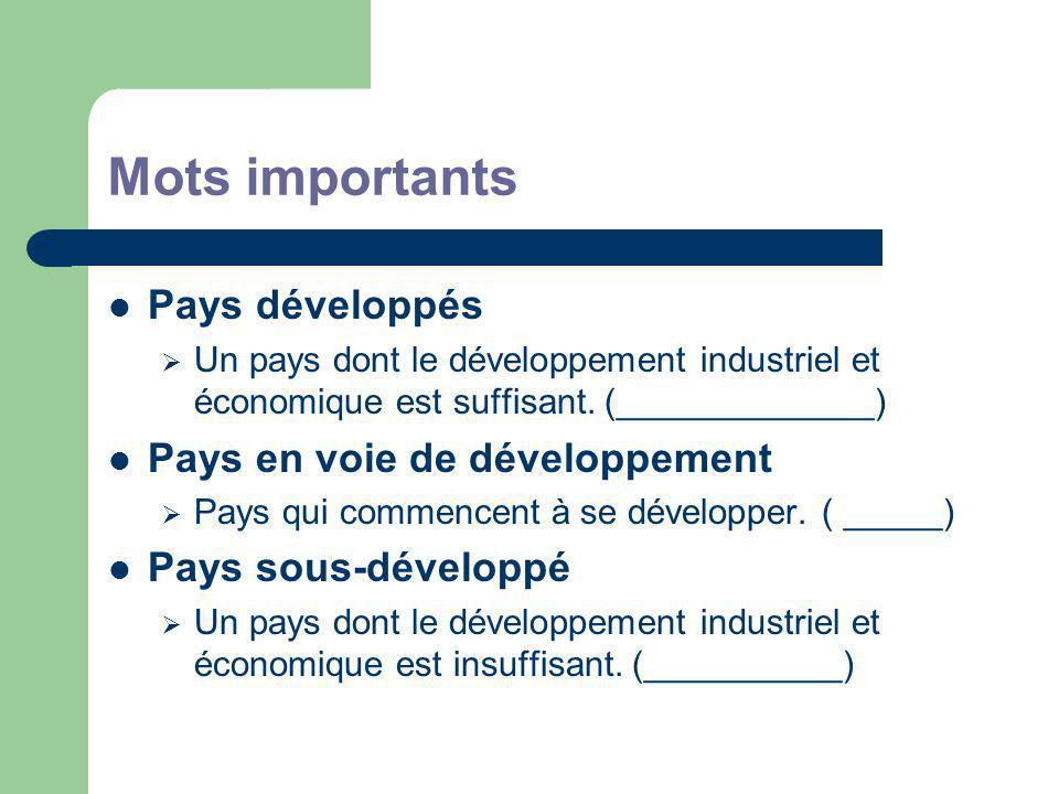 Mots importants Pays développés Un pays dont le développement industriel et économique est suffisant.