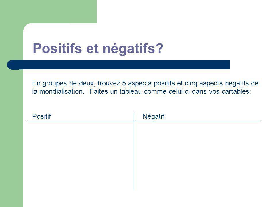 Positifs et négatifs.