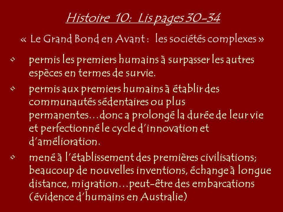 Histoire 10: Lis pages 30-34 « Le Grand Bond en Avant : les sociétés complexes » permis les premiers humains à surpasser les autres espèces en termes