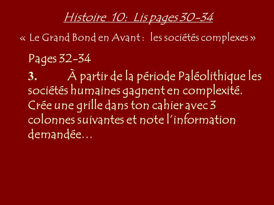 Histoire 10: Lis pages 30-34 « Le Grand Bond en Avant : les sociétés complexes » Pages 32-34 3. À partir de la période Paléolithique les sociétés huma