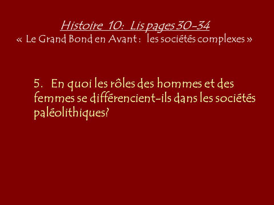Histoire 10: Lis pages 30-34 « Le Grand Bond en Avant : les sociétés complexes » 5.En quoi les rôles des hommes et des femmes se différencient-ils dan